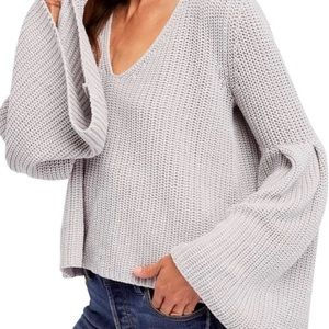 Free People Bell Sleeve Cropped Sweater
